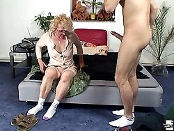 Hot grandma enjoys his big cock and he gets into her while she climbs aboard and rides