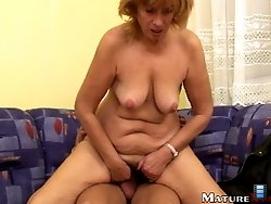 See old steaming hot Eva jumping on big erected cock.