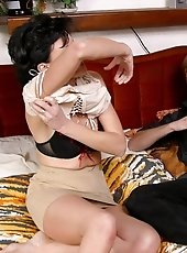 Lucky lad gets a lot of pleasure with his mature girlfriend and her hot experienced body