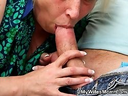 Sexy mother in law gets him to fuck her mature pussy with this throbbing young cock