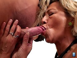 His fresh meat fucks her sexy old pussy hard and she moans about how good it feels