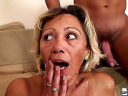 She cannot get enough young cock in her mature pussy and he delivers a damn good fucking