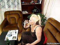 The old babe has a big ass and she ends up sitting on his cock to be filled up full