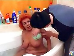 Red-haired slut was taking bath when her dirty lover came in and his tool was already hard and ready for action