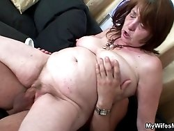 As he and his mother in law are just finishing the mature sex his wife comes home