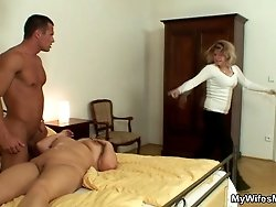 First he fills her mouth and she sucks him until he is rock hard for her wet pussy hole