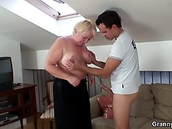 He fucks the granny pussy with abandon and makes her happy until he cums on her stomach