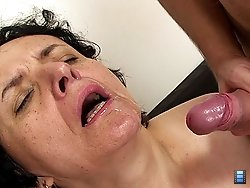 Older brunette gets fucked by husband and a young man on her special birthday