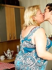 The old chick lusts after her son in law and his big cock provides a great deal of pleasure